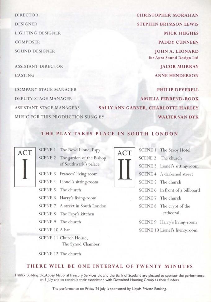 Cast List - Racing Demon - 1998 - 2 of 2