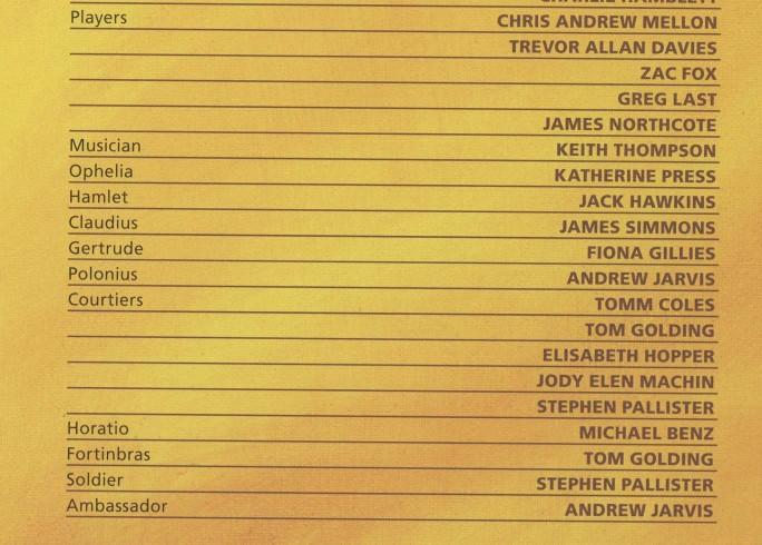 Cast List - Rosencrantz and Guildenstern are Dead - 2011
