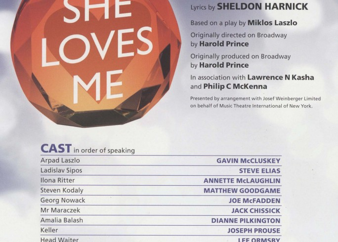 Cast List - She Loves Me - 2011- 1 of 2