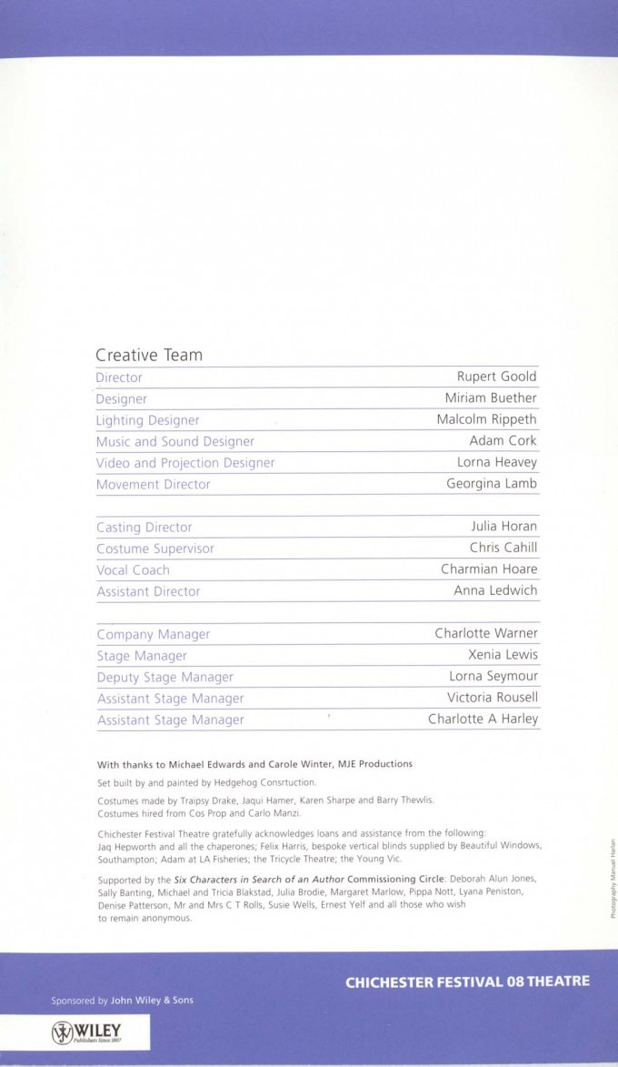 Cast List - Six Characters in Search of an Author - 2008 - 2 of 2