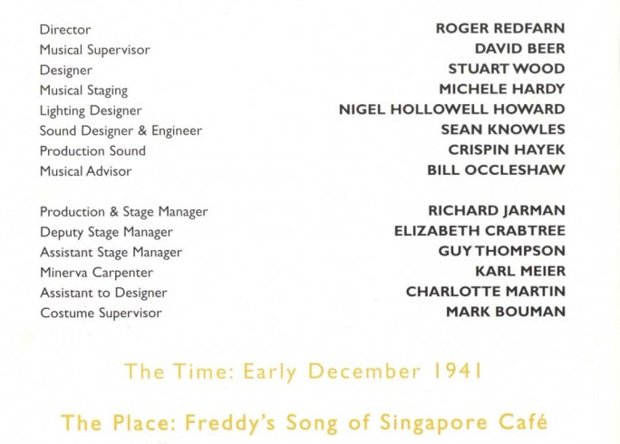 Cast List - Song of Singapore - 1998