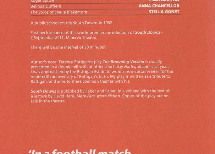 Cast List - South Downs - The Browning Version - 2011 - 1 of 2