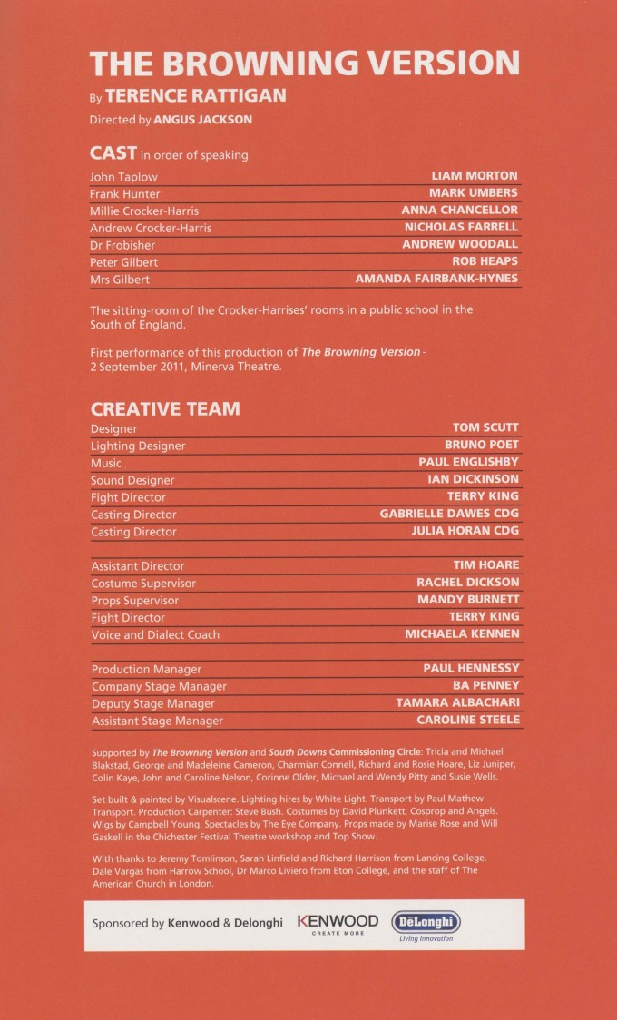 Cast List - South Downs - The Browning Version - 2011 - 2 of 2