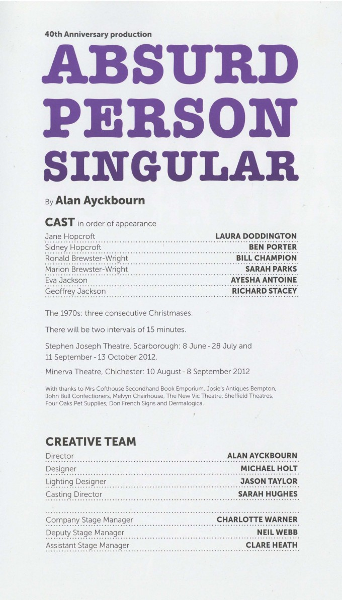 Cast List - Surprises, Absurd Person Singular - 2012 - 2 of 2