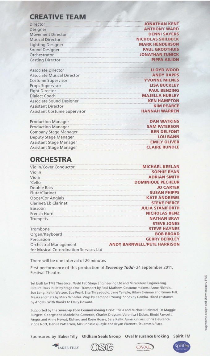 Cast List - Sweeny Todd - 2011 - 2 of 2