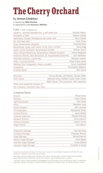 Cast List - The Cherry Orchard - 2008