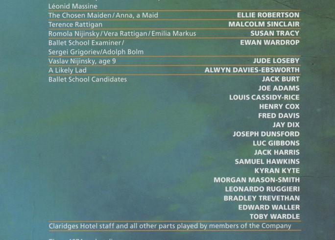Cast List - The Deep blue Sea, Rattigan's Nijinsky - 2011-B