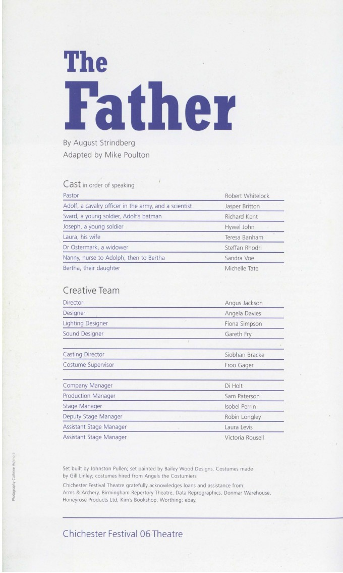 Cast List - The Father - 2006
