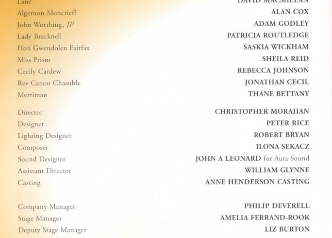 Cast List - The Importance of Being Earnest - 1999 - 1 of 2