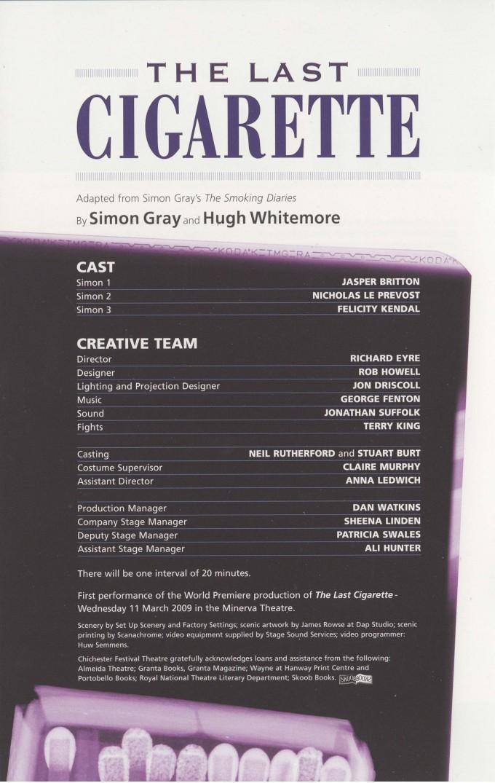 Cast List - The Last Cigarette - 2009 -