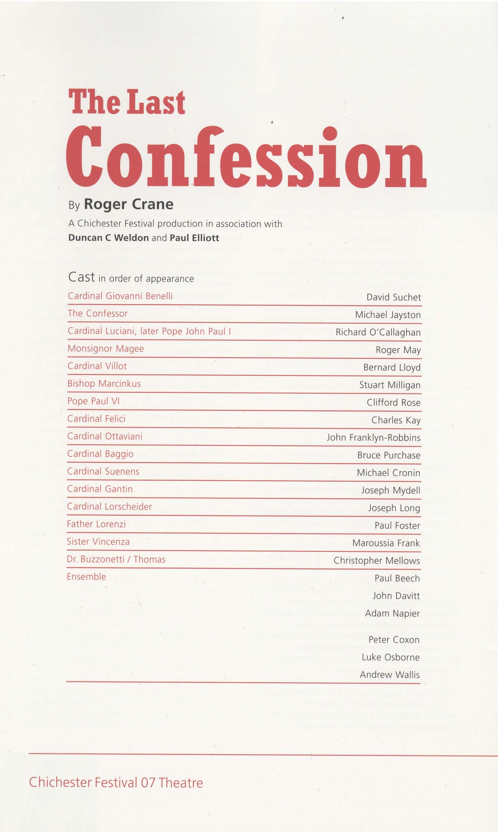 Cast list, The Last Confession (2007) – Pass It On