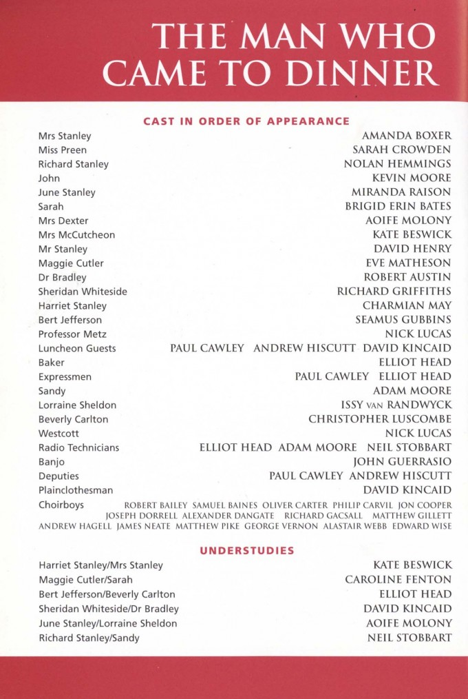 Cast List - The Man Who Came To Dinner - 1999 - 1 of 2