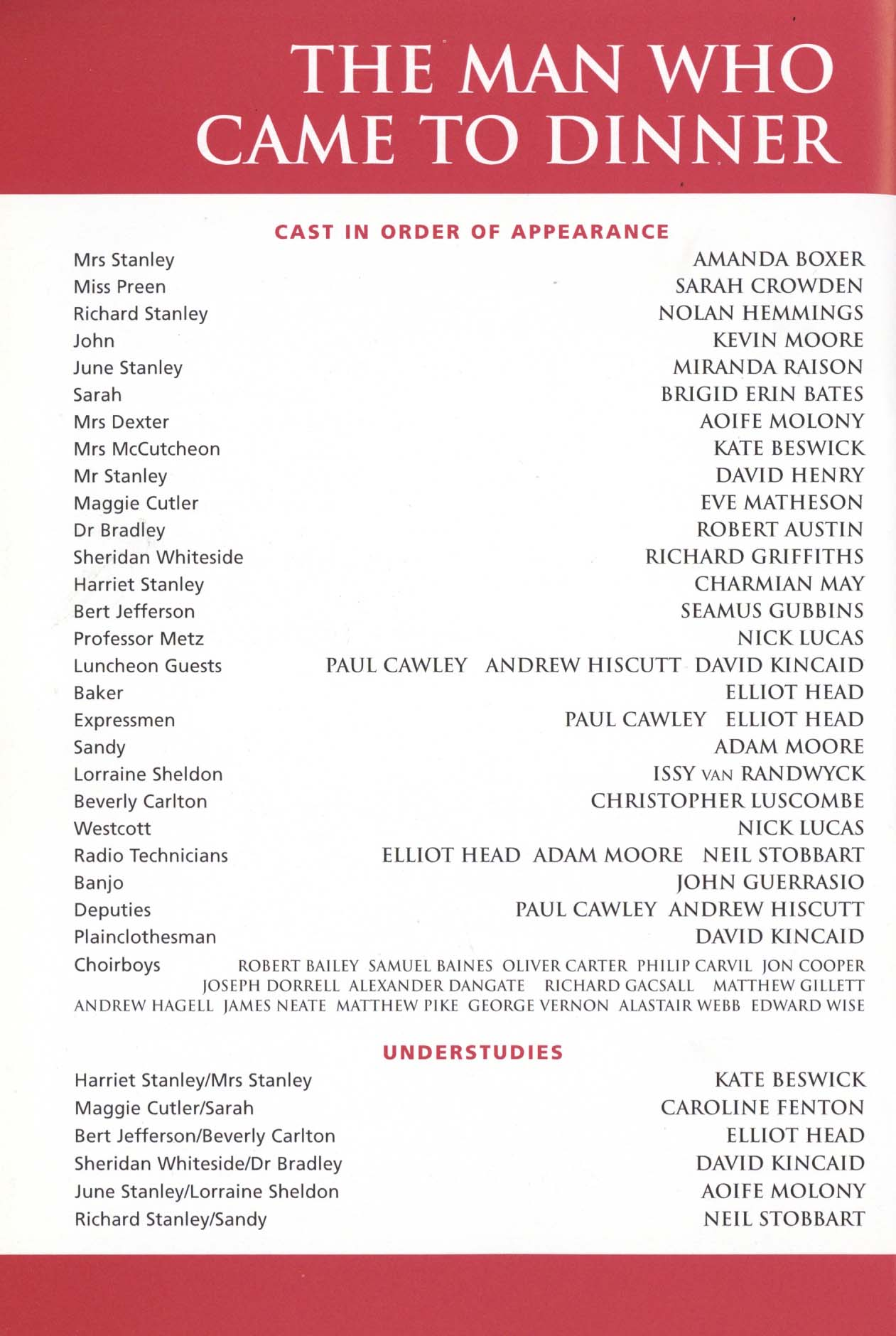 Cast List The Man Who Came To Dinner 1999 Pass It On
