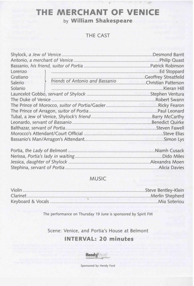 Cast List - The Merchant of Venice - 2003 - 1 of 2
