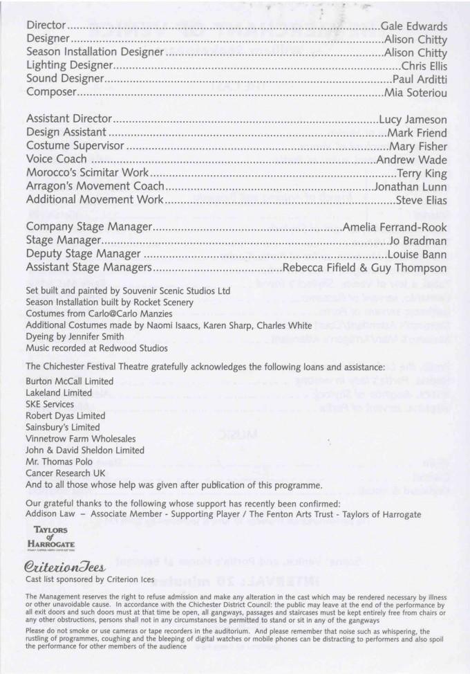 Cast List - The Merchant of Venice - 2003 2 of 2