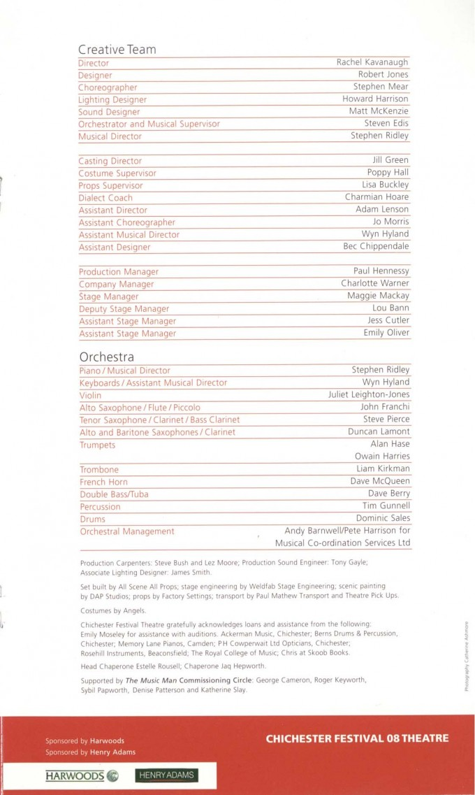 Cast List - The Music Man - 2008 - 2 of 2