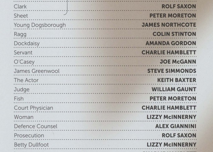 Cast List - The Resistable Rise of Arturo Ui - 2012 - 1 of 2