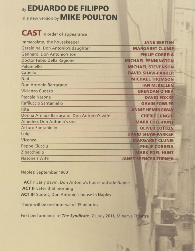 Cast List - The Syndicate - 2011- 1 of 2