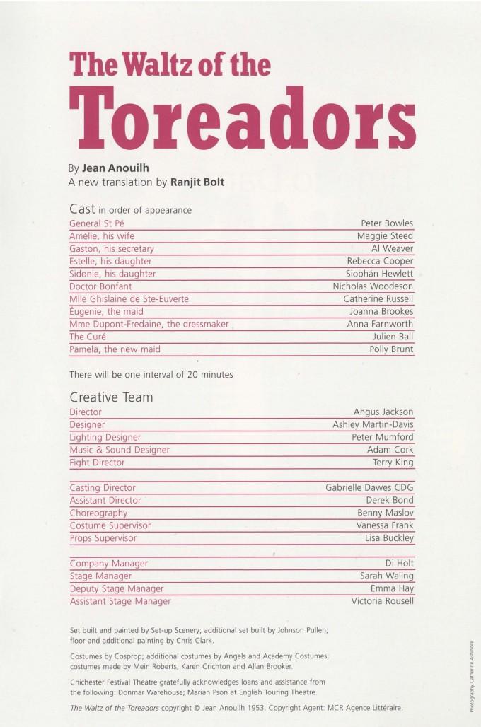 Cast List - The Waltz of the Toreadors - 2007