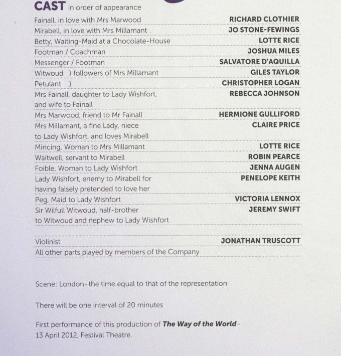 Cast List - The Way of the world - 2012- 1 of 2