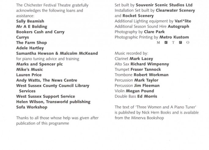 Cast List - Three Women and a Piano Tuner - 2004 - 1 of 2