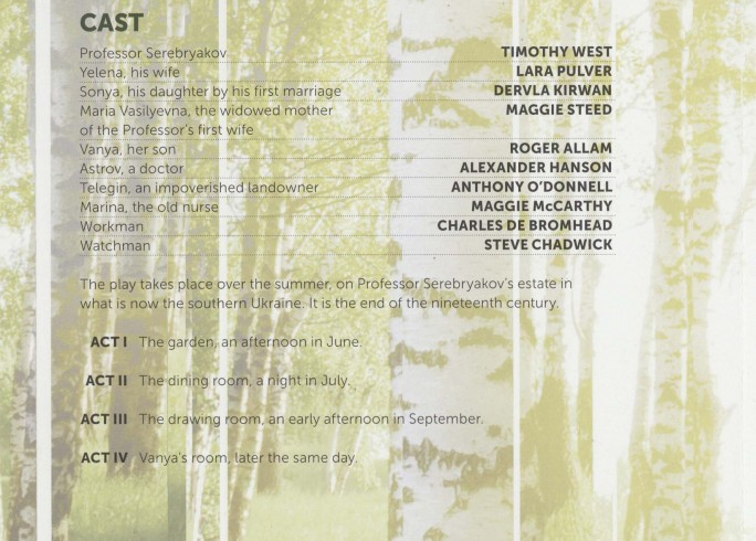 Cast List - Uncle Vanya - 2012 - 1 of 2