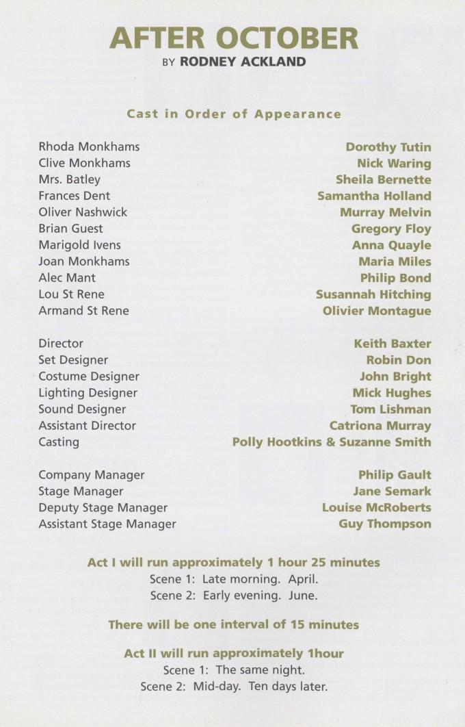 Cast list - After October - 1997