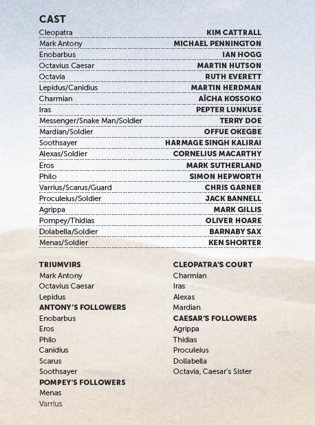 Cast list - Antony and Cleopatra - 2012 - 1 of 2