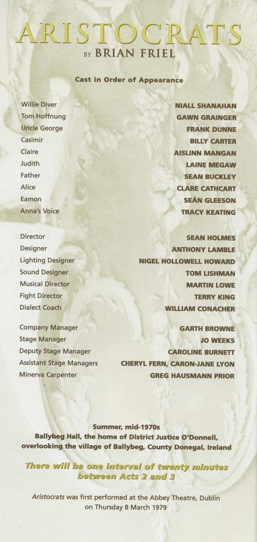 Cast list - Aristocrats - 2000