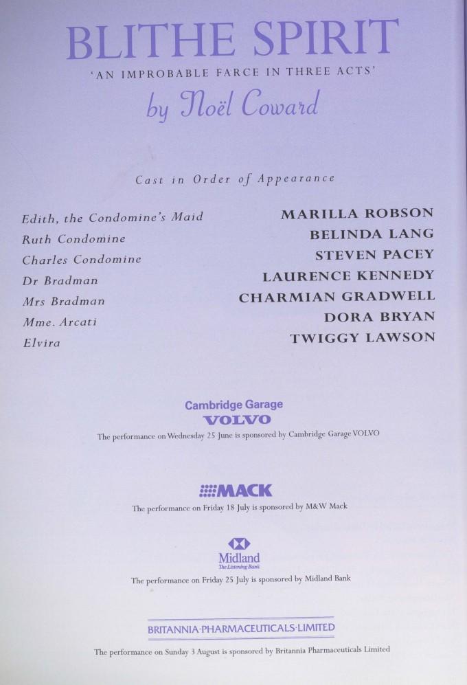 Cast list - Blithe Spirit - 1997 - 1 of 2