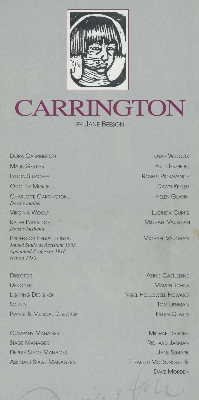 Cast list - Carrington - 1993