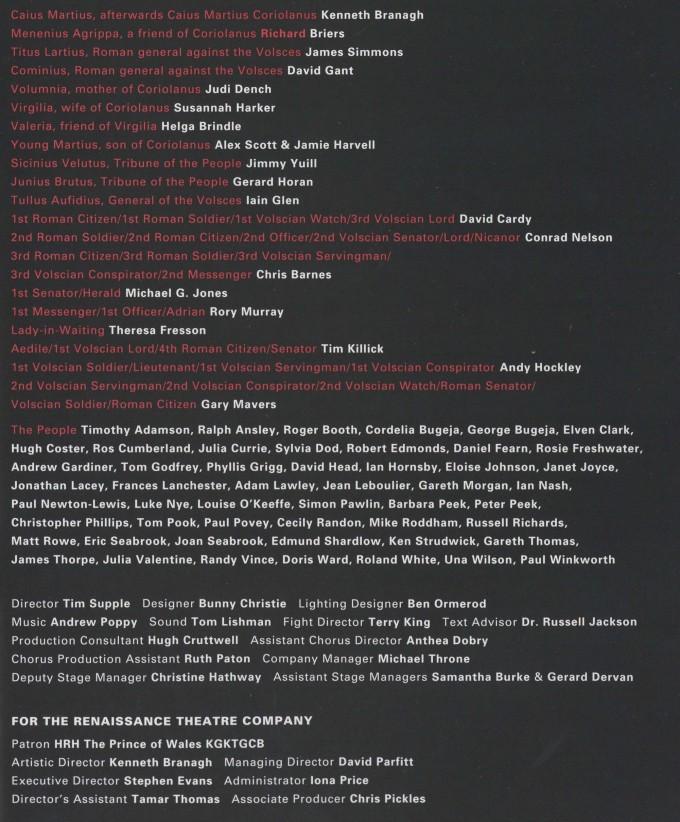 Cast list - Coriolanus - 1992
