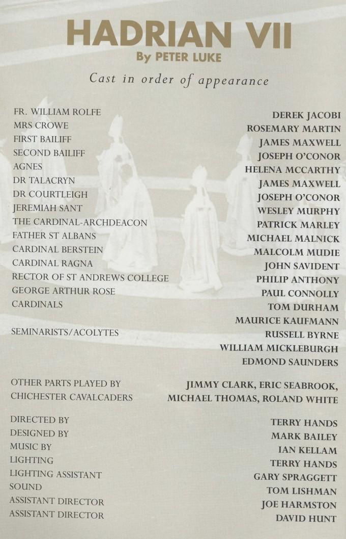Cast list - Hadrian VII - 1995 - 1 of 2