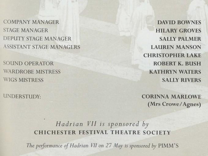 Cast list - Hadrian VII - 1995 - 2 of 2
