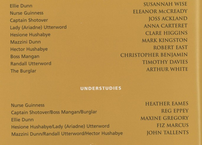 Cast list - Heartbreak House - 2000 - 1 of 2