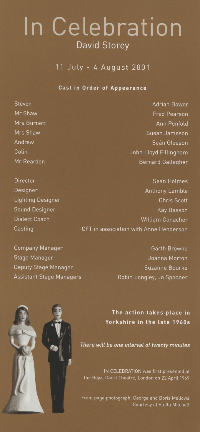Cast list -In Celebration - 2001
