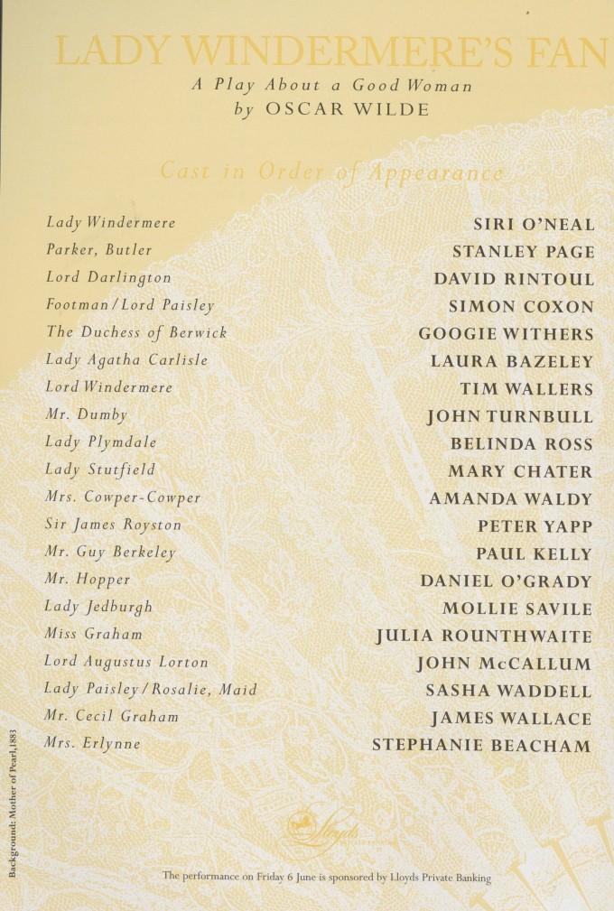 Cast list -Lady Windermere's Fan - 1997 - 1 of 2
