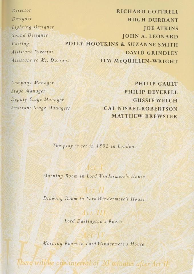 Cast list -Lady Windermere's Fan - 1997 - 2 of 2