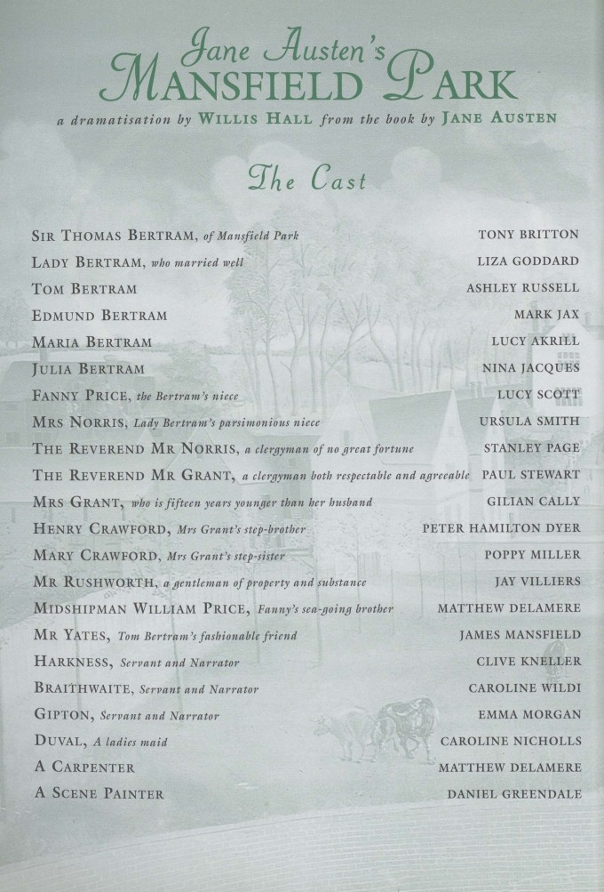 Cast list -Mansfield Park - 1996 - 1 of 2