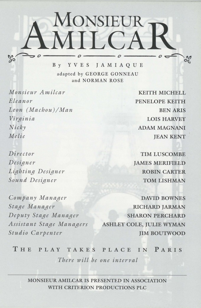 Cast list - Monsieur Amilcar - 1995