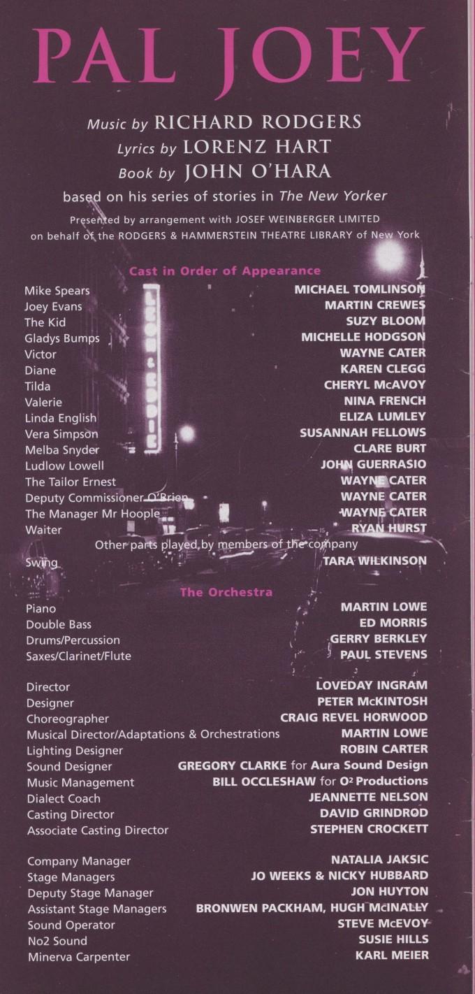 Cast list - Pal Joey - 2000