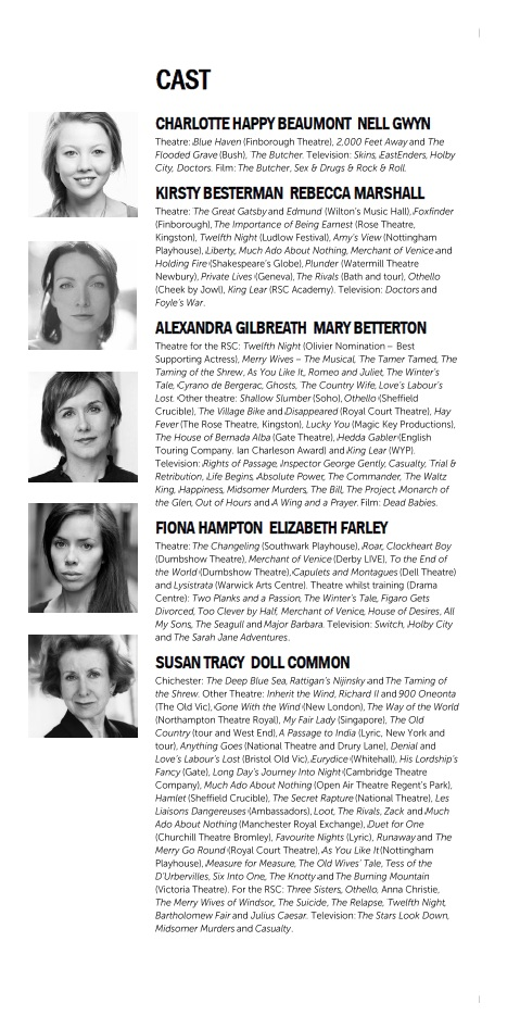 Cast list - Playhouse Creatures - 2012 - 1 of 2