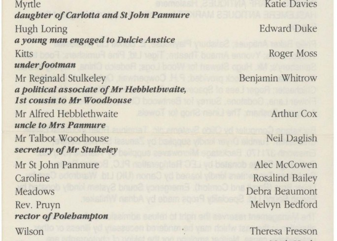 Cast list - Preserving Mr Panmure - 1991 - 1 of 2