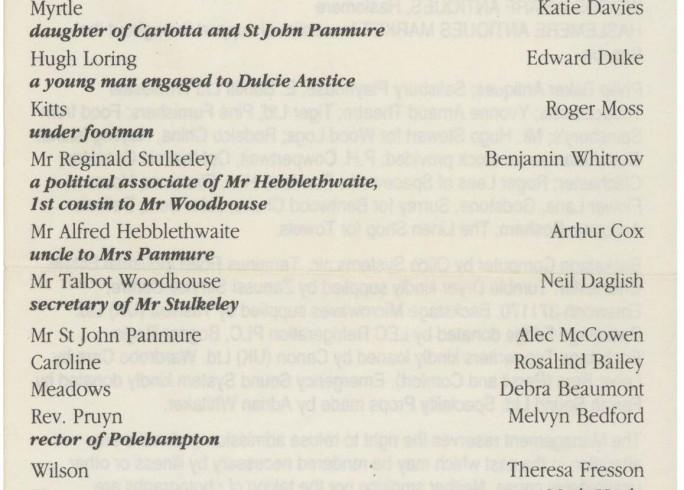 Cast list - Preserving Mr Panmure - 1991 - 1 of 2