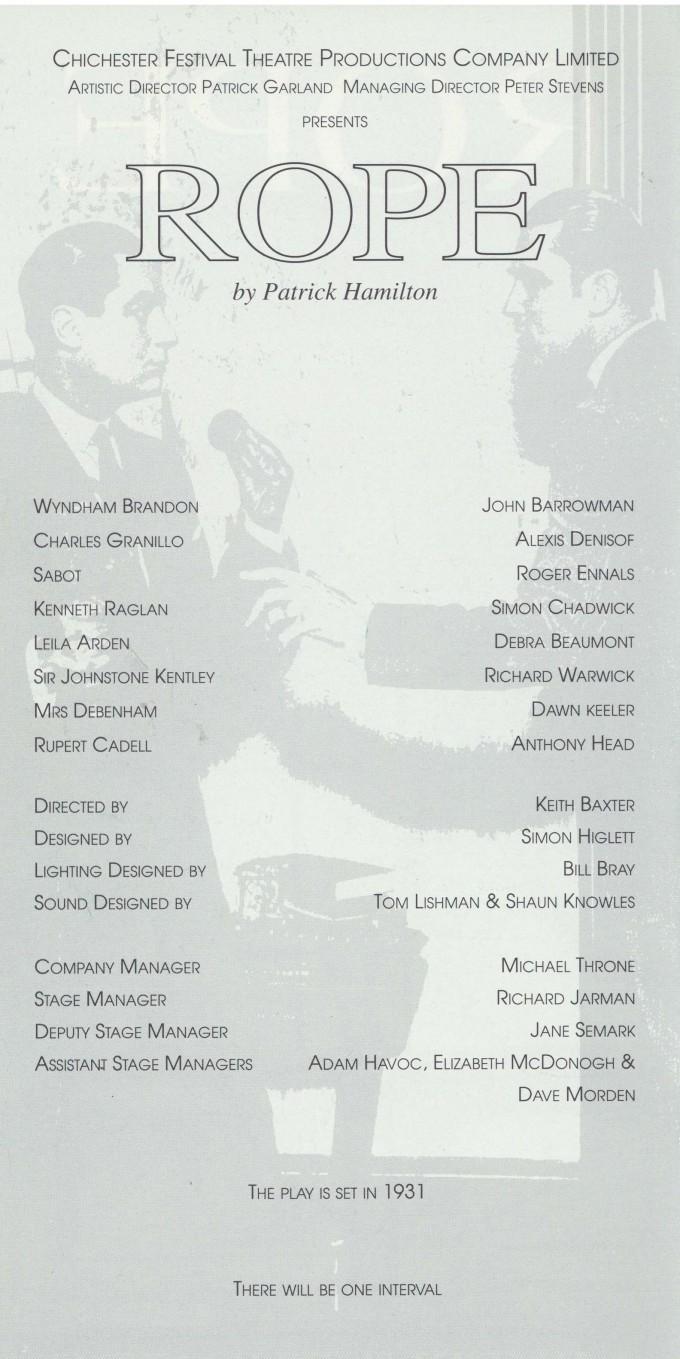 Cast list - Rope - 1993