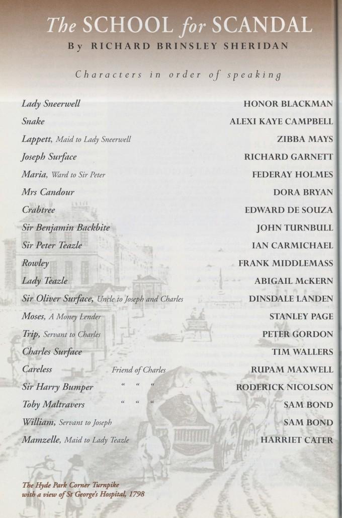 Cast list - School for Scandal - 1995 - 1 of 2