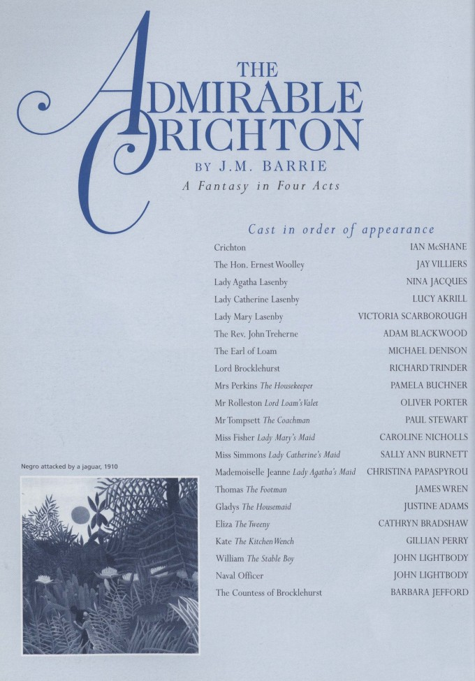Cast list - The Admirable Crichton - 1997