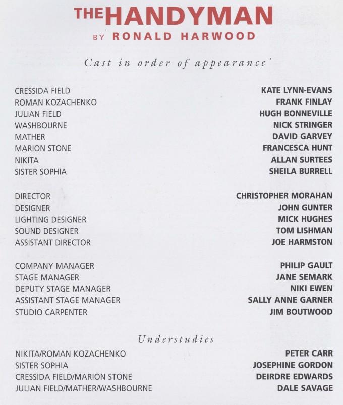Cast list - The Handyman - 1996