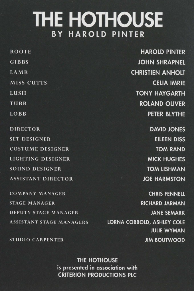 Cast list - The Hothouse - 1995