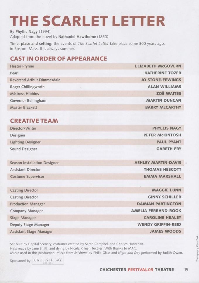 Cast list - The Scarlet Letter- 1994